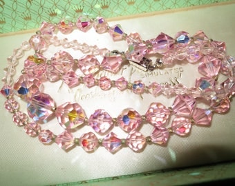 Vintage 1950s  sparkling pink AB crystal necklace 26 inches