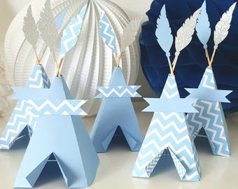 Small blue Indian tipi - blue silver Chevron - 210 g - anniversary of Indian