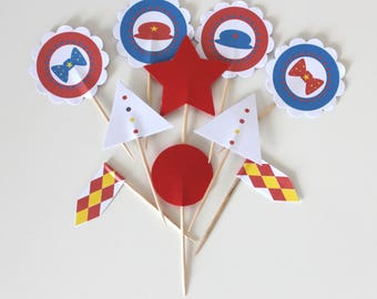 10 cupcakes toppers (cupcake toppers) for candy bar circus theme