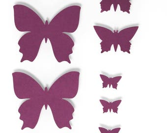 Set of 10 Purple Butterfly - 3 different sizes