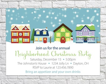 Printable Christmas Party Invitation, Christmas Open House Invitation, Neighborhood Party, Holiday Party Invitation, Block Party Invite