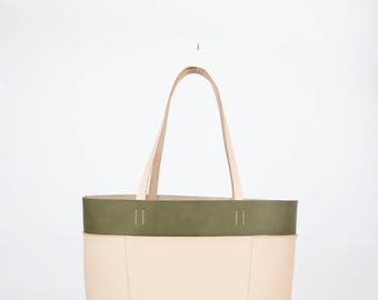 Olive / Natural Tote - One of a Kind, Leather, Leather Tote, Hand Stitched, Made In America, Tote Bag