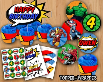 """Avengers Cupcake Toppers - PERSONALIZED - Avengers Toppers - Avengers 2"""" Favor Tag Topper Wrapper Ironman Hulk Thor Captain America"""