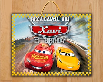 Disney Cars 3 Door Sign - Cars 3 Birthday Sign - Cars 3 Party Favor - Cars 3 Party Pennant Sign Printable - Lightning Mcqueen Jackson Storm