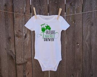 FUTURE TRACTOR DRIVER custom baby onesie