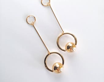 Oversized circle sphere earrings