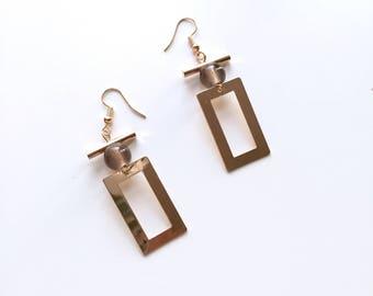 Square grey bead earrings