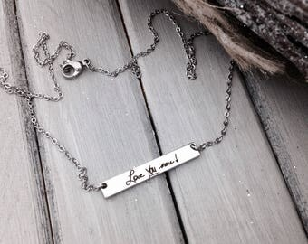 Memorial Horizontal Bar Necklace - YOUR HANDWRITING - or text, Stainless Steel - Perfect For Layering - No Tarnish