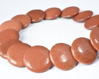 21mm Rust Sandstone Gemstone Beads Flat Round Sandstone chakra stones,gemstone,raw stone,ball beads,gemstone jewelry,rough,rock,