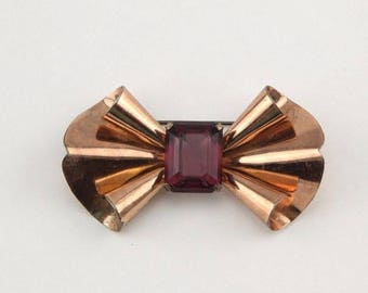 Vintage Retro Art Deco sterling silver purple glass ribbon bow pin brooch