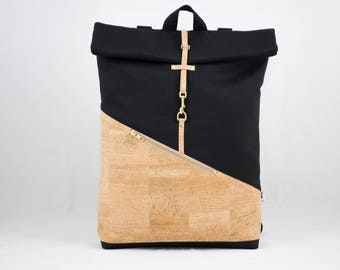 Cork Rolltop backpack with laptop compartment cork nature Canvas Black
