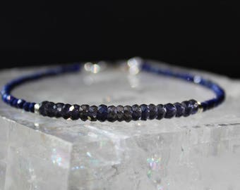 Iolite Bracelet with Lapis Lazuli, Lapis Lazuli Bracelet, Gemstone Bracelet, Blue Bracelet, All Natural Gemstone Stacking
