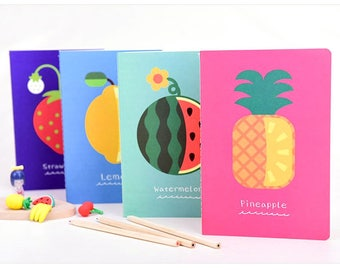 Fruit Notebook, Small Size, Lined Paper, Stationary, School Supplies, Strawberry, Lemon, Watermelon, Pineapple