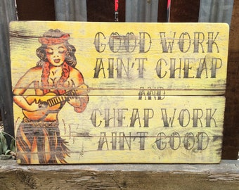 Sailor Jerry Handmade Wooden Quote sign vintage style