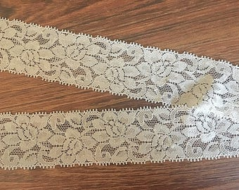 stretchy lace, cream lace, ivory stretch lace, headband supplies, lace headband, cream elastic, cream stretch lace, wide elastic lace