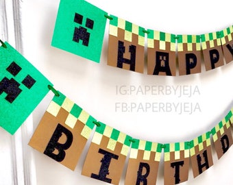 glitter minecraft birthday banner