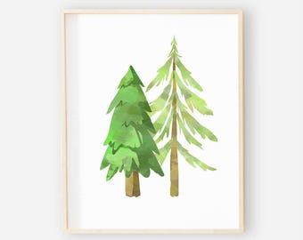 Forest Tree Nursery Digital Print | Nursery Wall Art | Woodland Wall Art | Forest Tree Baby Boy Nursery Decor | Forest Trees Digital Art 2