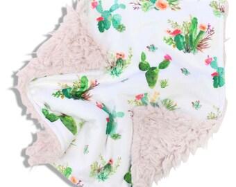Boho Cactus Minky Baby Girl Lovey | Green and Blush Cactus Security Blanket | Mini Baby Blanket | Faux Fur Lovie