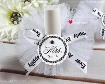 10 Bridal Shower Favors|Nail Polish Favors|Nail Polish Tutus|Favors with Custom Tags|Future Mrs.|Shower Favors|Wedding Favors|Bridal Party