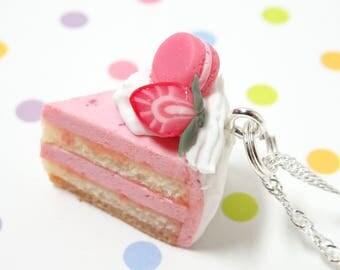 Strawberry Cake Charm, Cake Necklace, Food Jewelry, Miniature Food Charm, Fake Food Charm,Dessert Jewelry, Bakery Jewelry, Fake Food Jewelry