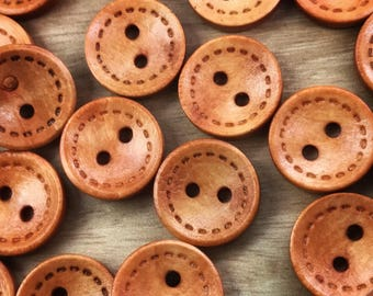 2 hole Cute wooden buttons, 15mm buttons, sewing, crafts, scrapbooking, 10 per pack