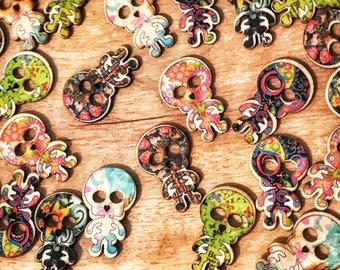 2 hole cute wood skeleton buttons. Very cool buttons! 30mm Mixed buttons, sewing, crafts, scrapbooks. 10 buttons per pack. Cute buttons