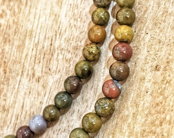 Natural Petrified Wood beads. 4mm beads for jewelry making, jewelry accessories, natural beads. 98 beads per strand.