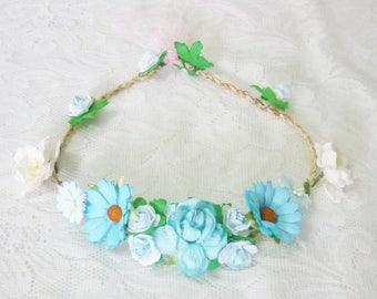 Flower headpiece Baby blue Flower headband  /Flower headband /Flower headpiece /Flower hair wreath party flower M1