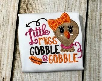Little Miss Gobble Gobble - Thanksgiving Shirt - Girls Thanksgiving Shirt - Personalized - Baby Thanksgiving - First thanksgiving - Monogram