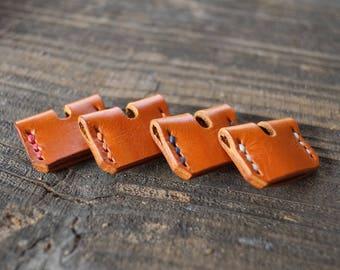 Individual Saddle Tan key covers - Cream, Blue,Red or Orange stitch.