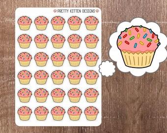 Cupcake Planner Stickers   30 Stickers   Matte Removable   Erin Condren, Kikki K, Plum Paper Planner
