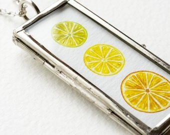 orange necklace watercolor necklace fruit jewelry citrus fruit necklace watercolor orange pendant jewelry art picture frame necklace