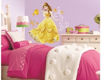 Disneys belle birthday/bedroom stick and peel wall decal decor