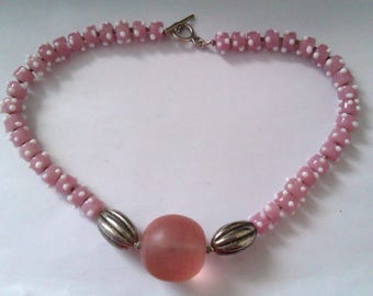 pink glass bead wedding cake style necklace