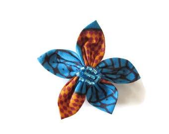barrette bleu, barrette orange, barrette wax, barrette tissu, barette cheveux, barrette fleur, barrette femme, barrette fille