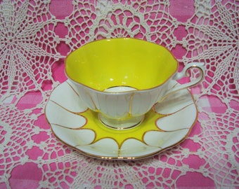 Beautiful Vintage Royal Albert Yellow and White Cup & Saucer.
