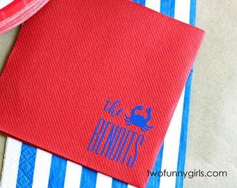 Red Linun (Linen Feel) Paper Napkin for Crawfish Boil, Seafood Boil, Lobster Bake