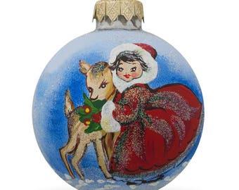 """3.25"""" Girl with Reindeer Glass Ball Christmas Ornament"""