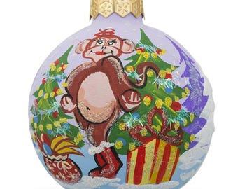 "4"" Lady Monkey with Christmas Tree and Gifts, Animal Glass Ball Christmas Ornament"