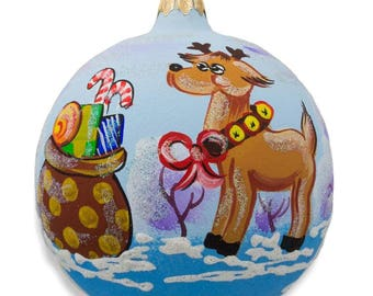 "4"" Reindeer with Bag of Gifts Glass Ball Christmas Ornament"