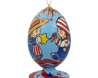 "3.5"" Proud Americans on 4th of July USA Independence Egg Christmas Ornament"