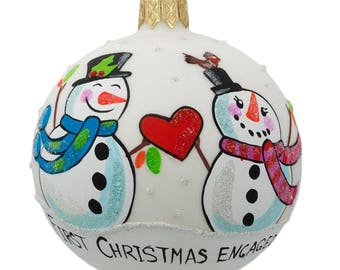 "3.25"" Snowman Engament Glass Ball Our First Christmas Ornament"