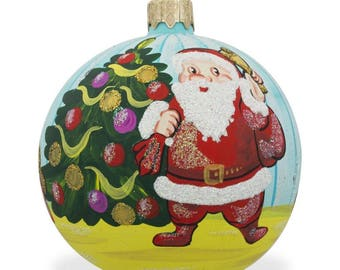 "3.25"" Santa by Christmas Tree with Gifts Glass Ball Christmas Ornament"