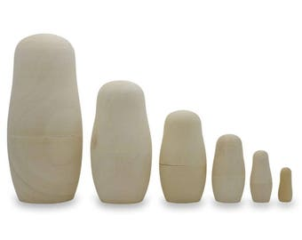 "5.5"" Set of 6 Unpainted Blank Wooden Nesting Dolls"