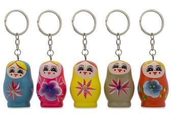 "1.75"" Five Matryoshka Wooden Russian Nesting Dolls Key Chains"