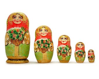 6.5'' Set of 5 Girls with Basket Flowers Russian Nesting Dolls Matryoshka with Flowers Basket