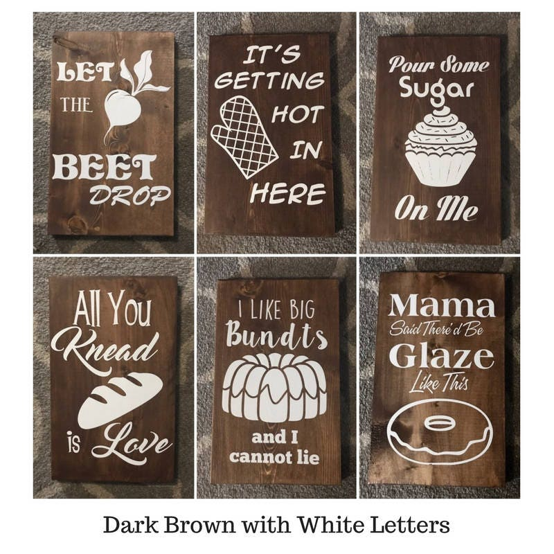 Kitchen Signs For Sale: MIX AND MATCH Set Of 6 Funny Wooden Kitchen Sign Wall