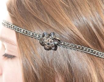 Crystal headband from Swarovski crystal sylver night