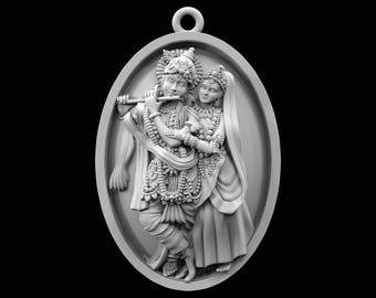 STL file of Radha Krishna Coin Jewelry Pendant for 3D Printing / Manufacturing