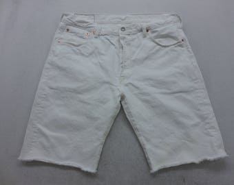 Mens White Wash Denim Levi's 501 Cut Off Bermuda Jean Shorts Size 36 W